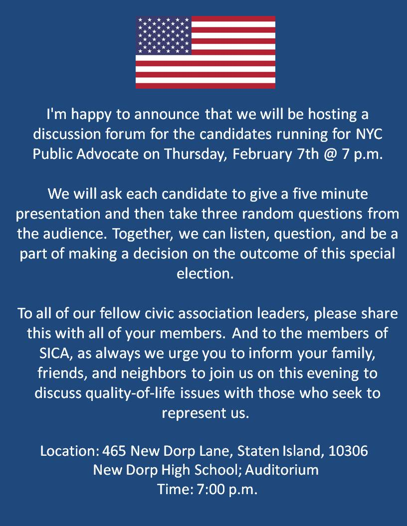 SICA February NYC Advocate Meeting Flyer